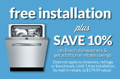 10% Off Plus FREE installation on all Bosch dishwashers